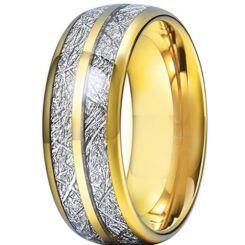 **COI Gold Tone Titanium Meteorite Dome Court Ring-6972AA