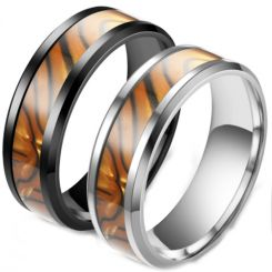**COI Titanium Black/Silver Black Brown Camo Beveled Edges Ring-6974AA