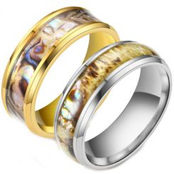 **COI Titanium Gold Tone/Silver Camo Beveled Edges Ring-6975AA