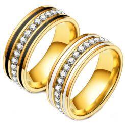 **COI Gold Tone Titanium Black/White Ceramic Ring With Cubic Zirconia-6977AA