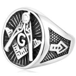 **COI Titanium Black Silver Masonic Freemason Ring-6978AA