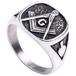 **COI Titanium Black Silver Masonic Freemason Ring-6979AA