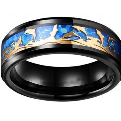 **COI Black Titanium Rose Blue Dolphin Beveled Edges Ring-6982AA