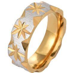 **COI Titanium Gold Tone Silver Polished Matt Grooves Ring-6987AA