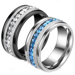 **COI Titanium Silver/Black Silver Step Edges Ring With Cubic Zirconia-6988AA