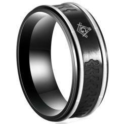**COI Titanium Black Silver Masonic Freemason Ring-6989AA