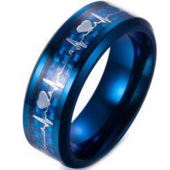 **COI Blue Titanium Heartbeat & Heart Beveled Edges Ring-6990AA