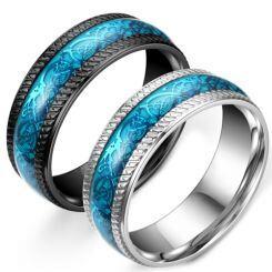 **COI Titanium Black/Silver Blue Dragon Ring-6993AA