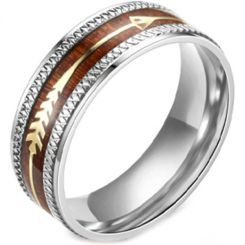 **COI Titanium Wood Ring With Arrows-6994AA