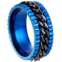 **COI Titanium Black Blue Chain Link Ring-6995AA