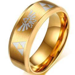 *COI Gold Tone Titanium Legend of Zelda Beveled Edges Ring-806