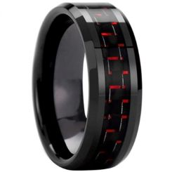 COI Black Titanium Beveled Edges Ring With Carbon Fiber - 825