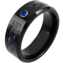 *COI Titanium Ring With Carbon Fiber & Created Sapphire-JT919
