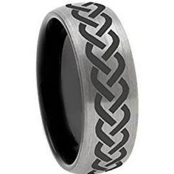 COI Titanium Black Silver Dome Court Celtic Ring - 972