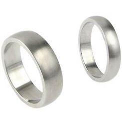 COI Platinum White Titanium Dome Court Ring - JT006