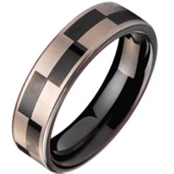COI Black Titanium Checkered Flag Pipe Cut Flat Ring - JT1006A