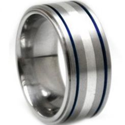 COI Titanium Blue Silver Double Grooves Pipe Cut Flat Ring-1073
