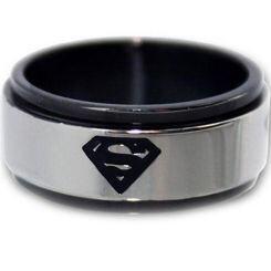 *COI Titanium Black Silver Superman Step Edges Ring - JT1088A