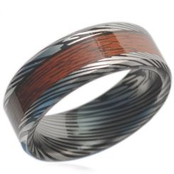 COI Black Titanium Damascus Wood Beveled Edges Ring-JT1606