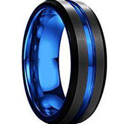 COI Titanium Black Blue Center Groove Beveled Edges Ring-JT1673A