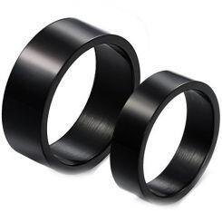 COI Black Titanium Pipe Cut Flat Ring - JT2183