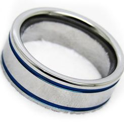 COI Titanium Blue Silver Double Grooves Pipe Cut Ring-JT2266AA