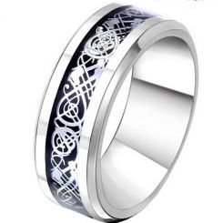 COI Titanium Dragon Beveled Edges Ring - JT2292AA