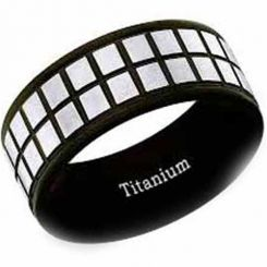 COI Black Titanium Checkered Flag Pipe Cut Flat Ring - JT2442