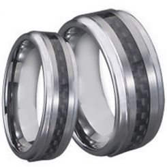 *COI Titanium Step Edges Ring With Carbon Fiber - JT2677A