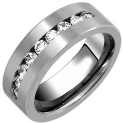*COI Titanium Pipe Cut Flat Ring With Cubic Zirconia - JT2780