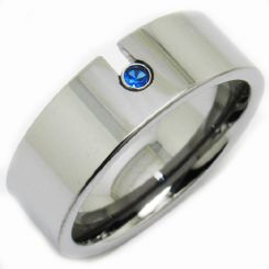 *COI Titanium Pipe Cut Flat Ring With Created Sapphire-JT2892