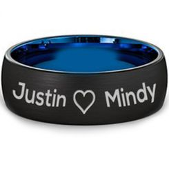COI Titanium Black Blue Heart Ring With Custom Names Engraving - JT3060AA