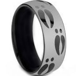 COI Titanium Black Silver Deer Track Dome Court Ring - JT3261