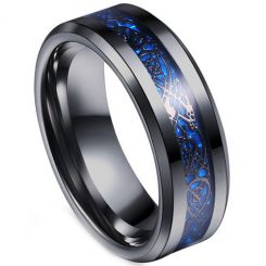 *COI Titanium Black Blue Dragon Beveled Edges Ring - JT3354