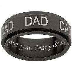 COI Black Titanium Daddy Ring With Custom Engraving-JT3393