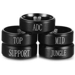 COI Black Titanium Step Edges Ring With Custom Engraving-JT3432