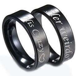 COI Black Titanium His Crazy Her Weirdo Pipe Cut Ring-JT3548
