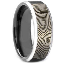 COI Titanium Custom FingerPrint Beveled Edges Ring - 3972