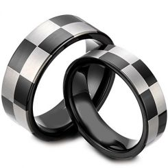 COI Black Titanium Checkered Flag Pipe Cut Flat Ring - JT4039