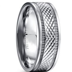 COI Titanium Double Grooves Faceted Ring-JT4242
