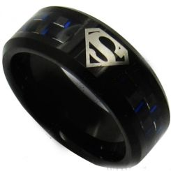 *COI Titanium Superman Carbon Fiber Beveled Edges Ring-JT430
