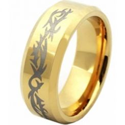 COI Gold Tone Titanium Celtic Beveled Edges Ring - JT5071