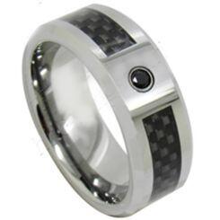 *COI Titanium Ring With Carbon Fiber & Cubic Zirconia-JT5087