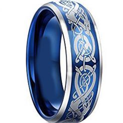 COI Titanium Blue Silver Dragon Beveled Edges Ring - JT5093