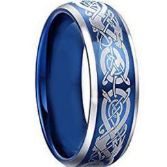 *COI Titanium Blue Silver Dragon Beveled Edges Ring - JT5093