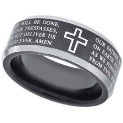 *COI Titanium Cross Prayer Beveled Edges Ring-JT5105