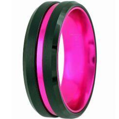 COI Titanium Black Rose Center Groove Beveled Edges Ring-JT5106