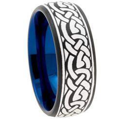 COI Titanium Black Blue Celtic Dome Court Ring-JT5113