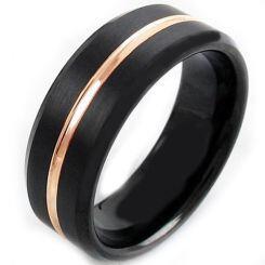 COI Titanium Black Rose Center Groove Beveled Edges Ring-JT5114