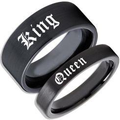 COI Black Titanium King Queen Pipe Cut Flat Ring-JT5120